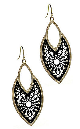 Black Medallion with Gold Trim Earrings