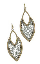 Silver and Gold Double Oval Earrings