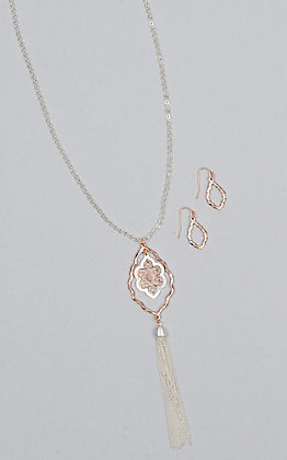 Amber's Allie Rose Gold and Silver Filigree Jewelry Set