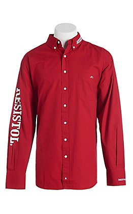 Resistol Men's Red with White Logos Long Sleeve Western Shirt