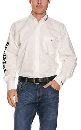 Resistol Men's White with Black Logos Long Sleeve Western Shirt