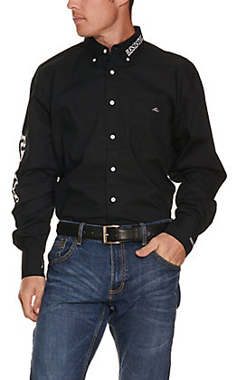 Resistol Men's Black with White Logos Long Sleeve Western Shirt