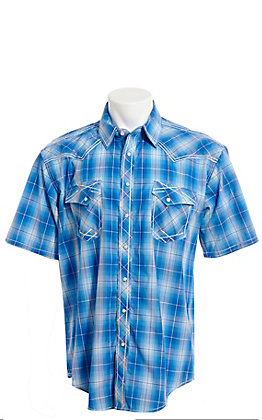 Rough Stock by Panhandle Men's Blue Plaid Short Sleeve Western Shirt