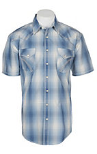 Panhandle Rough Stock Dusty Blue Plaid w/ Fancy Stitching S/S Western Snap Shirt