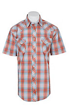 Panhandle Rough Stock Orange and Blue Plaid S/S Cavender's Exclusive Western Snap Shirt