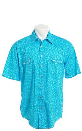 Rough Stock by Panhandle Men's Turquoise Aztec Geo Print Short Sleeve Western Shirt