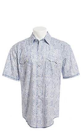 Rough Stock by Panhandle Men's White And Blue Vintage Paisley Short Sleeve Western Shirt