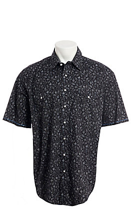 Rough Stock by Panhandle Men's Black Floral Paisley Short Sleeve Western Shirt