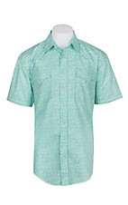 Panhandle Rough Stock Men's Light Green and Blue S/S Western Snap Shirt