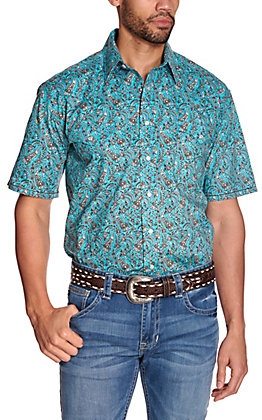 Panhandle Rough Stock Men's Turquoise with Brown Paisley Print Stretch Short Sleeve Western Shirt