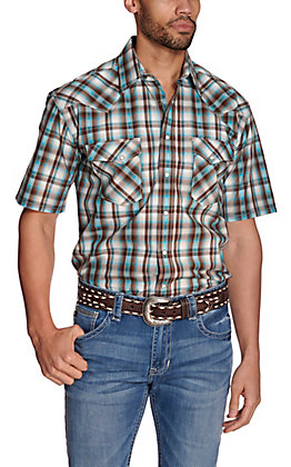 Panhandle Rough Stock Men's Brown, White & Turquoise Dobby Plaid Short Sleeve Western Shirt