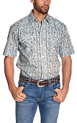 Panhandle Rough Stock Men's White with Turquoise & Brown Paisley Stripes Short Sleeve Western Shirt