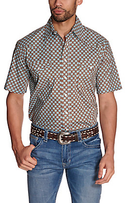 Panhandle Rough Stock Men's Brown with Turquoise & White Geo Print Stretch Short Sleeve Western Shirt