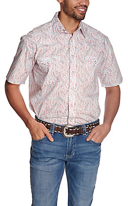Panhandle Rough Stock Men's White with Turquoise and Coral Paisley Print Short Sleeve Western Shirt