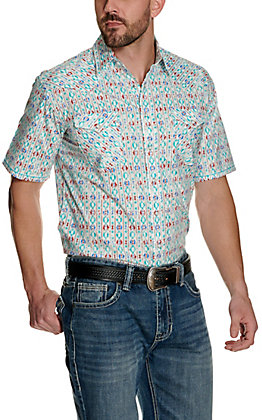 Panhandle Rough Stock Men's White with Blue and Red Aztec Stretch Short Sleeve Western Shirt