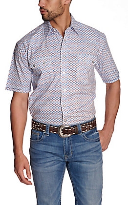 Panhandle Rough Stock Men's White with Blue & Red Geo Print Stretch Short Sleeve Western Shirt
