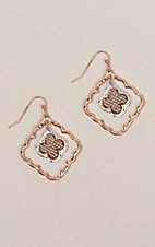 Amber's Allie Rose Gold & Silver Small Filigree Earrings