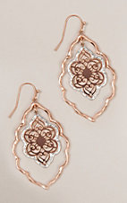 Amber's Allie Rose Gold & Silver Medium Filigree Teardrop Earrings