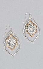 Amber's Allie Silver & Gold Medium Filigree Teardrop Earrings