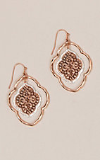 Amber's Allie Rose Gold & Silver Medium Filigree Rounded Earrings