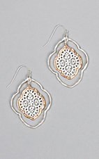 Amber's Allie Silver & Gold Medium Filigree Rounded Earrings