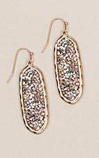 Amber's Allie Gold Oval Bling Earrings