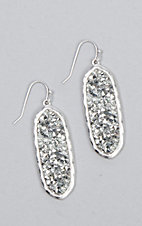 Amber's Allie Silver Oval Bling Earrings