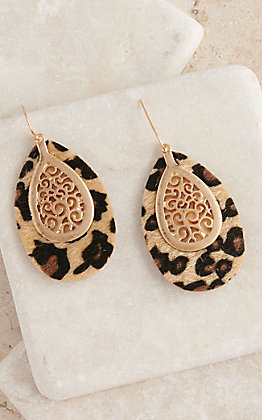 Amber's Allie Leather Leopard Print Teardrop Earrings