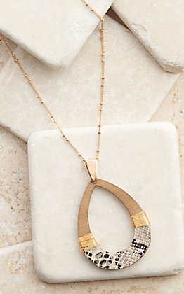 Amber's Allie Gold with Wood Teardrop and Snake Pendant Necklace