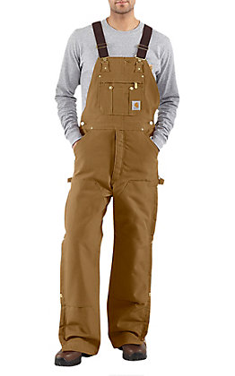Carhartt Men's Brown Quilt Lined Zip To Thigh Bib Overalls