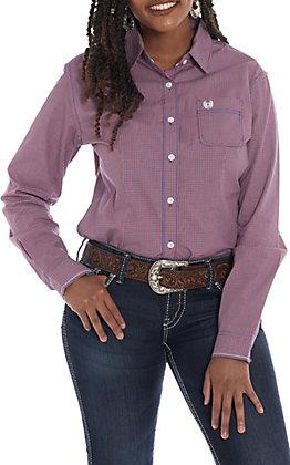Panhandle Women's Red & Blue Checkered Long Sleeve Western Shirt