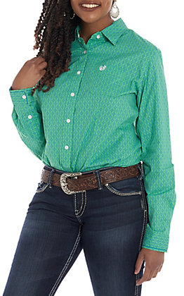 6831566f66fd Panhandle Women's Green Geo Print Long Sleeve Western Shirt