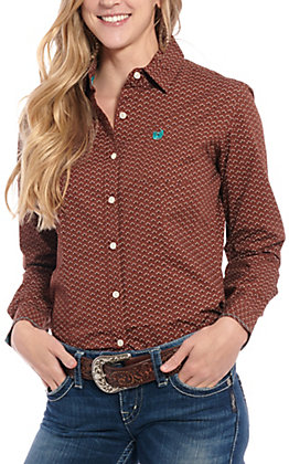 Panhandle Roughstock Women's Brown Geo Print Long Sleeve Western Shirt