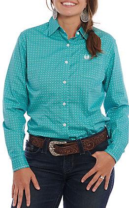 Panhandle Roughstock Women's Turquoise Geo Print Long Sleeve Western Shirt