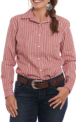 Panhandle Roughstock Women's Red & White Striped Long Sleeve Western Shirt