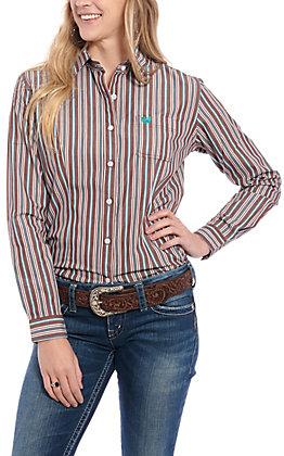 Panhandle Women's Brown Stripe Long Sleeve Western Shirt
