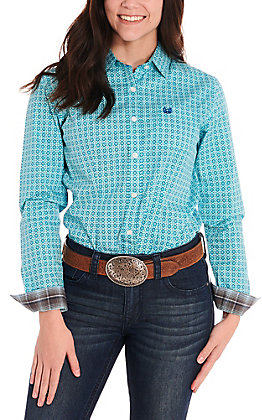 Rough Stock by Panhandle Women's Turquoise Medallion Print Long Sleeve Western Shirt