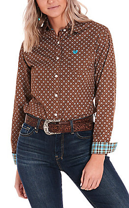 Rough Stock by Panhandle Women's Brown with Turquoise Diamond Print Long Sleeve Western Shirt