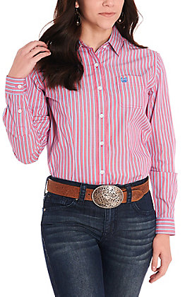 Rough Stock by Panhandle Women's Pink & Blue Stripes Long Sleeve Western Shirt