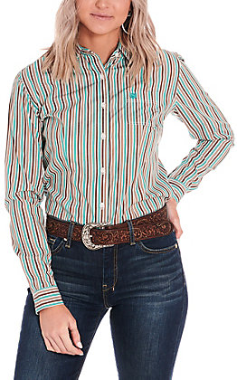 Rough Stock by Panhandle Women's Turquoise and Brown Stripes Long Sleeve Western Shirt
