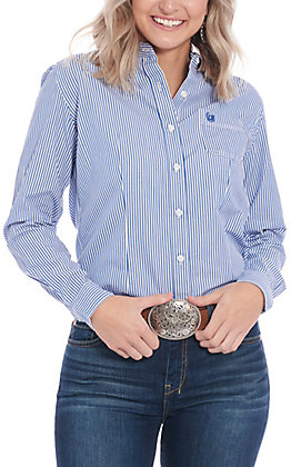 Roughstock by Panhandle Women's Blue & White Striped Long Sleeve Western Shirt