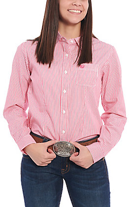 Roughstock by Panhandle Women's Pink & White Striped Long Sleeve Western Shirt