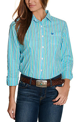 Panhandle Women's Turquoise, Green & White Stripes Long Sleeve Western Shirt