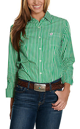 Panhandle Women's Green, Pink & White Stripes Long Sleeve Western Shirt