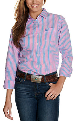 Panhandle Women's Pink, Blue & White Stripes Long Sleeve Western Shirt