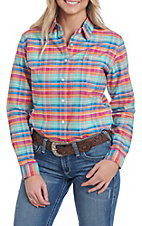 Rough Stock by Panhandle Women's Plaid Print Western Snap Shirt
