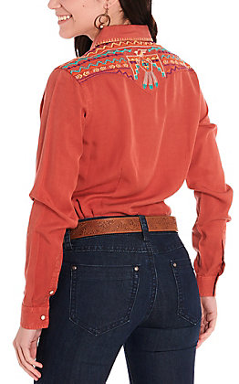 Rough Stock by Panhandle Women's Rust with Thunderbird Aztec Embroidery Long Sleeve Western Shirt