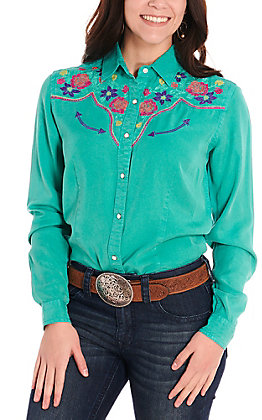 Rough Stock by Panhandle Women's Teal with Floral Embroidery Long Sleeve Retro Western Shirt