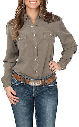 Panhandle Women's Rough Stock Embroidered Yoke Western Shirt