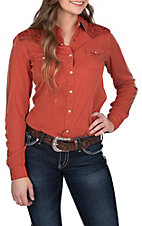 Rough Stock by Panhandle Women's Rust Orange with Aztec Embroidery Long Sleeve Western Shirt